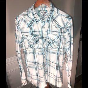 BKE Vintage 67 Blue/Gray Plaid Pearl Snap Shirt